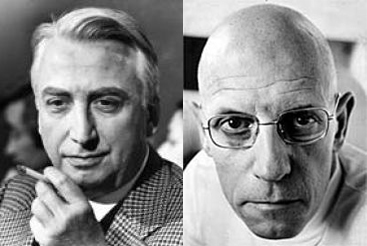 Roland Barthes (L) and Michel Foucault (R)